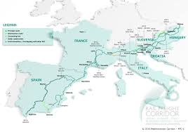 France On Europe Map by Rail Freight Corridor 6
