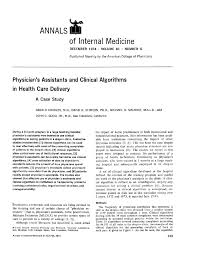 physician u0027s assistants and clinical algorithms in health care