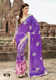 buy purple color stone patch u0026 zari lace work shaded brasso saree