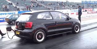 volkswagen santa polo gti drag racer is as fast as hypercars has parachute