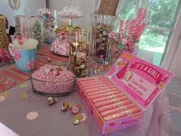 pink and gold baby shower candy buffet time for the holidays