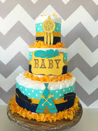tribal diaper cake in teal navy and mustard yellow tribal