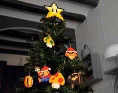 super mario bros perler bead star christmas tree topper and