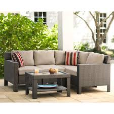 Home Depot Wicker Patio Furniture - hampton bay beverly 5 piece patio sectional seating set with