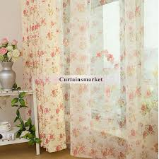 Pink Flower Curtains Window Curtains With Flower Images For Eco Friendly