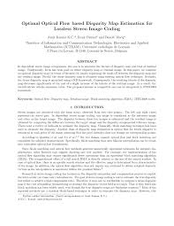 Bilinear Map Optimal Optical Flow Based Disparity Map Estimation For Lossless