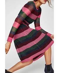 striped openwork dress midi dresses woman zara united states