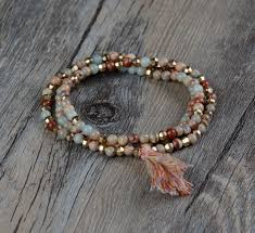 bracelet elastic images Exclusive 3 strands natural stone gold beads stretch tassel jpg