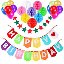 Birthday Decoration Supplies Aitesco Happy Birthday Banner with 8