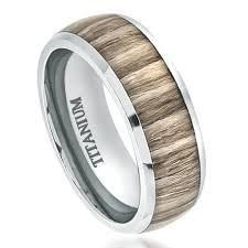 wood inlay wedding band zebrawood inlay titanium ring
