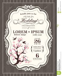 vintage cherry blossom wedding invitation border and frame stock