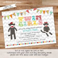 monkey invitations baby shower twin baby shower invitation baby sock monkey gender neutral