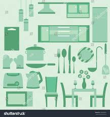 Furniture In Kitchen Vector Set Furniture Kitchen Room Stock Vector 158376860