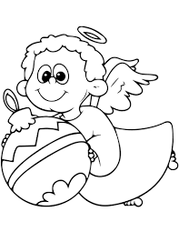 cute angel with christmas decoration coloring page free