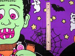 panel halloween fabric giant frankenstein ghosts star moon bat
