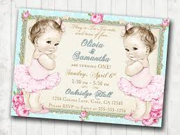 twins 1st birthday invitation for twin girls shabby chic
