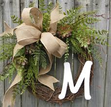 burlap covered letters succulent wreath wreath for all year round monogram wreath