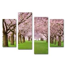 stretched modern realistic flower wall art cherry blossom oil