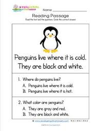 kindergarten reading passage kindergarten reading passages penguins a wellspring