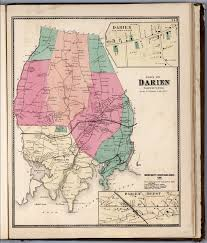 Map New York Connecticut by Town Of Darien Fairfield County Connecticut Inset Darien