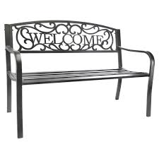 leigh country welcome 50 5 in outdoor metal bench hayneedle
