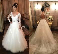 plain wedding dresses discount open back sleeve wedding dresses v neck a line lace