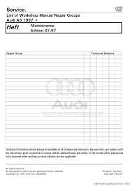 audi a3 1997 8l 1 g maintenance workshop manual
