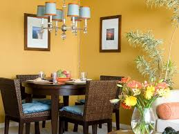 yellow dining room paint colors theme and round wood dining table
