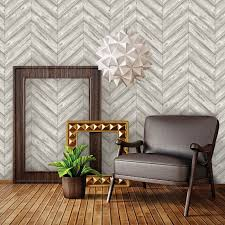 herringbone ash textured self adhesive wallpaper by tempaper