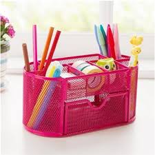 Pink Desk Organizers And Accessories Large Colorful Stationery Holder With Storage Drawers Metal