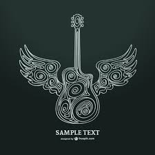 ornamental guitar with wings vector free