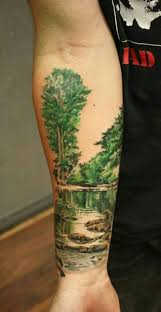 color water and trees ink piercing