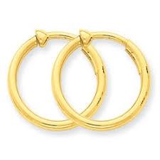 hoop clip on earrings 14k clip on hoop earrings gold hoop earrings 3 4 diameter