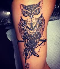 eule armtattoo dunkel owl and tatting