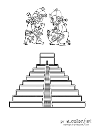 mayan pyramid print color fun free printables coloring pages
