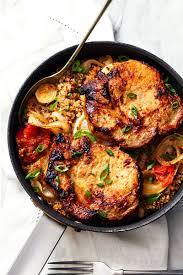 one pan pork chops with quinoaa recipe u2014 eatwell101