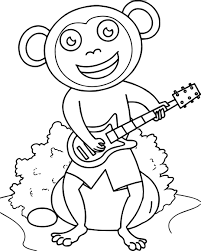 monkey sitting on rock playing guitar coloring page wecoloringpage