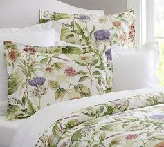 thistle floral print organic duvet cover u0026 sham pottery barn