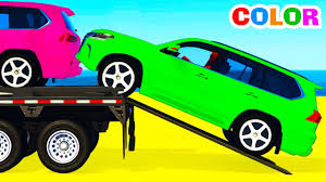 funny suv cars transportation and spiderman cartoon for children w