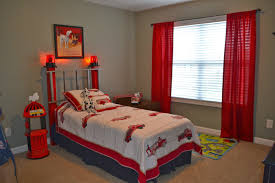Red Curtains In Bedroom - boys bedroom inspiring kid fire truck themed bedroom decoration