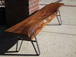 endearing unique furniture design featuring wood slab bench with
