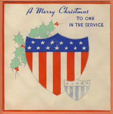 World War 2 Us Flag Vintage Military Serviceman Soldier World War Ii Xmas Card Shield