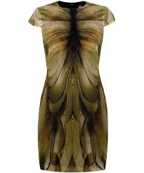 mcq green dragonfly wing print bodycon dress in green lyst