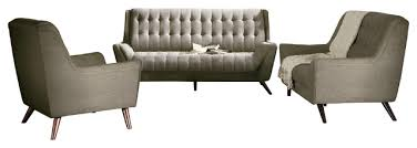 natalia chenille fabric tufted seat back sofa set with tapered