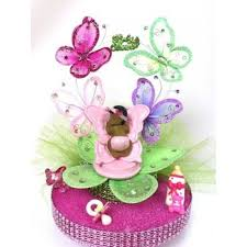 baby shower ethnic baby on butterfly cake topper or
