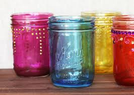 coloured mason jars modge podge food colouring american