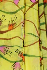 yellow color bengal tant lemon yellow color saree with floral hand painting