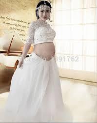 pregnancy wedding dresses aliexpress buy back up lace white 2pcs set maternity wedding