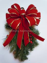 red gold christmas weatherproof bow indoor outdoor garland bow