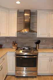Kitchen Stone Backsplash by Ge Slide In Stove Broan Elite Chimney Hood Lady Grey Brushed